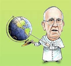 Le Pape tenant un globe et pointant vers son pays d'origine